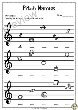 Back to School Treble Clef Note Naming Worksheets | TpT