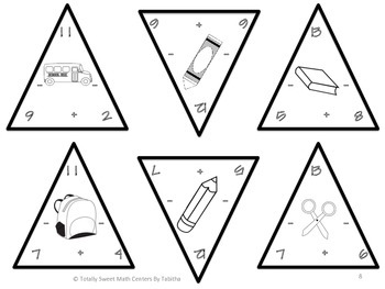 Back to School Triangles- Addition and Subtraction to 20 Edition 1.OA.6