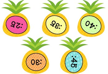 Back to School Tropical Pineapple Decor Clock Labels