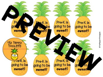 Back to School Tropical Pineapple Welcome Tags for Students