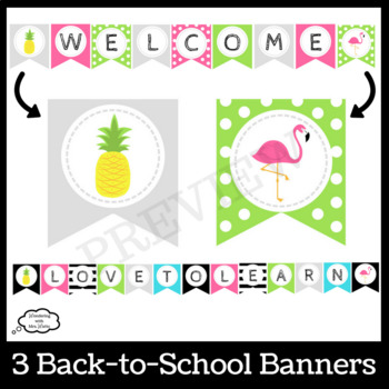 Back to School Tropical (Pineapples and Flamingos) Door Décor Kit