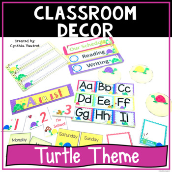 Back to School Classroom Decor Turtle Theme