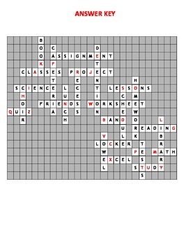 Back to School Twisted Crossword Puzzle