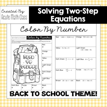 Back to School Two-Step Equation Coloring Sheet