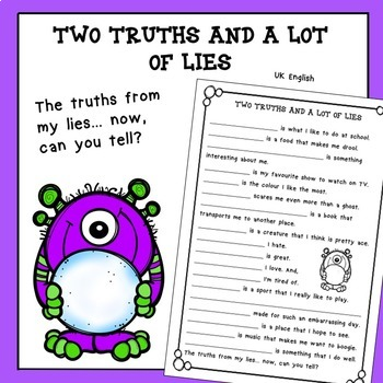 Free Back to School Two Truths and a Lot of Lies No Prep AUS UK