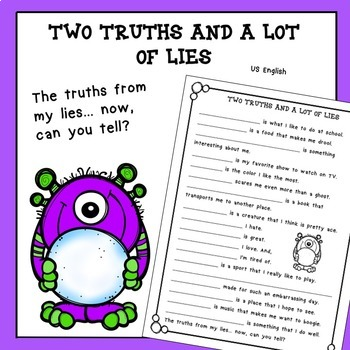 Free Back to School Two Truths and a Lot of Lies No Prep US