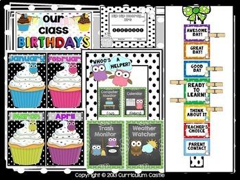 Classroom Decor Kit {Polka Dot & Owl Theme}