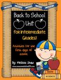 Back to School Unit {Intermediate Grades 3-6}