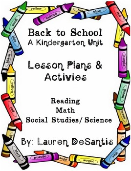 Back to School Unit for Kindergarten or First Grade Activi