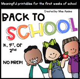 Back to School Unit of First Days of School Activities