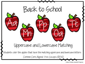 Back to School-Uppercase Lowercase Matching-Common Core Al