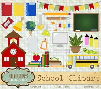 Back to School Vector Clip Art clipart bus chalkboard stationery graph paper