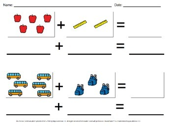 Back to School Visual Addition Math Worksheet Sample (Sums 1-10)