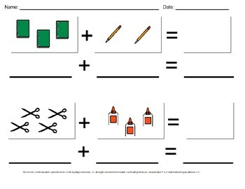 Back to School Visual Addition Math Worksheet Set