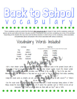 Back to School Vocab Cards + Activities