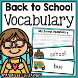 Back to School Vocabulary Cards and Worksheets