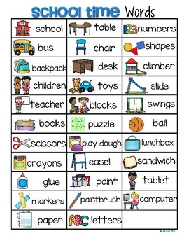 Back to School Vocabulary List 32 Words and Pictures FREE