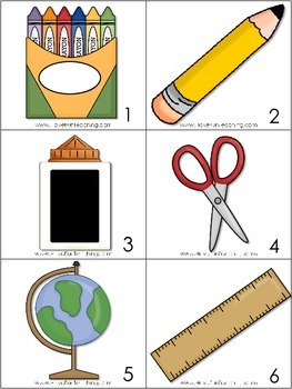 Back to School Vocabulary Matching Activity Center