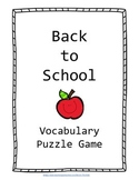 Back to School Vocabulary Puzzle