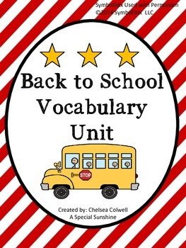 Back to School Vocabulary Unit for Special Education