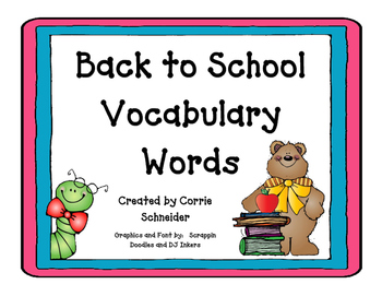 Back to School Vocabulary Word Activity Pack