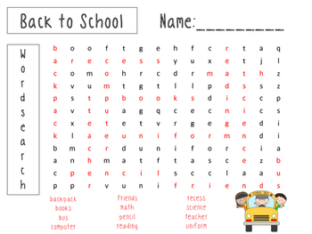 Back to School Vocabulary Word Search