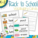 Back to School Vocabulary Word Wall Cards plus Write & Wip