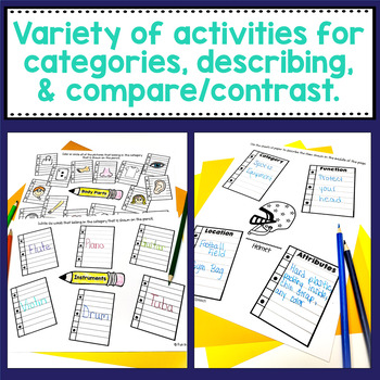 Back to School Vocabulary Worksheets for Speech Therapy Activities