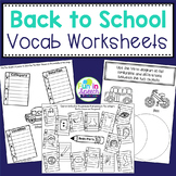 Back to School Vocabulary Worksheets for Speech Therapy