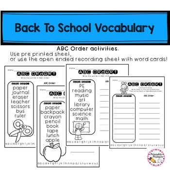 Back to School Vocabulary and ABC order