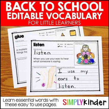 Back to School Vocabulary for Little Learners (Editable)