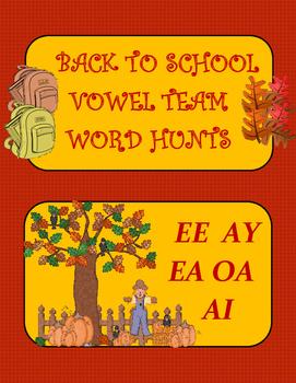 Back to School Vowel Team Word Hunts