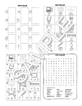 Back to School / Vuelta a la escuela SPANISH Worksheets and Games Pack
