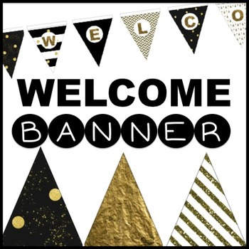 Back to School WELCOME bunting - Black and Gold