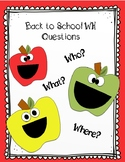 Back to School WH Question Fun- Feed the Apple