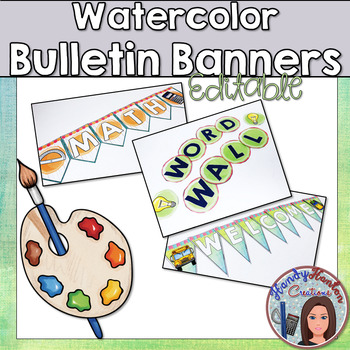 Back to School Watercolor Classroom Banners