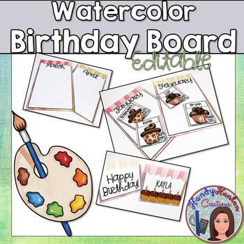 Back to School Watercolor Classroom Birthday Bulletin Board