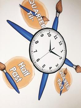 Watercolor Classroom Clock