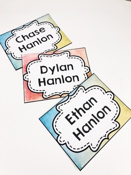Watercolor Classroom Name Tags