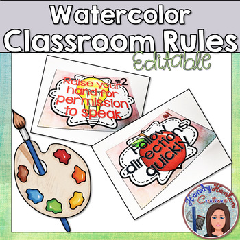 Watercolor Classroom Rules Editable Posters