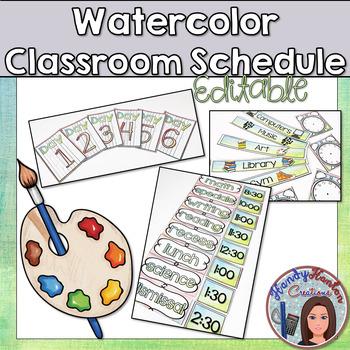 Back to School Watercolor Classroom Schedule Posters