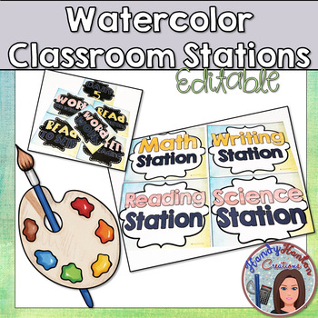 Back to School Watercolor Classroom Stations Posters