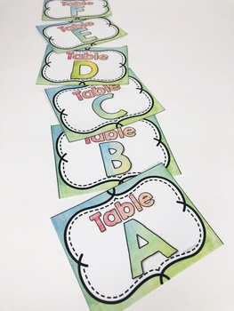 Back to School Watercolor Classroom Table Labels