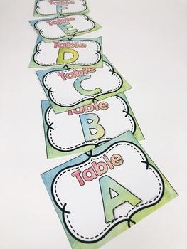 Watercolor Classroom Table Labels