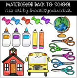 Back to School Watercolor Clip Art