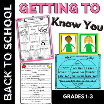 Getting to Know You Back to School Activity for 1st &2nd Grade Differentiated