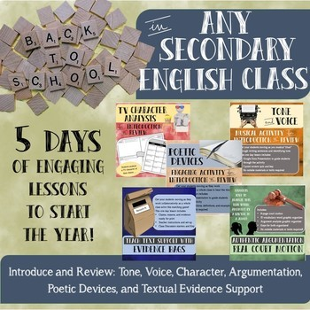 Back to School Week Bundle for any Secondary English Class- 5 one day lessons!
