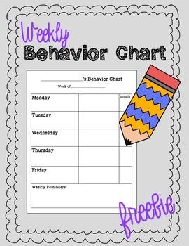 Back to School: Weekly Behavior Chart Freebie