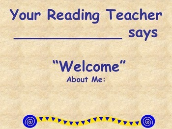 Back to School Open House - Welcome to Reading Class Editable PowerPoint
