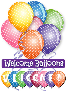 Back to School Welcome! Balloons - Clip Art - PDF and PNG